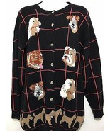Jayson Younger Womens S Sweater 6 Dogs Black Cotton Spaniel Bulldog Terrier - $45.57