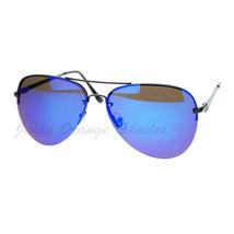 Rimless Aviator Sunglasses Color Mirror Lens Spring Hinge - $7.95