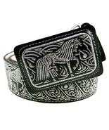 Mens Cowboy Belt Lether Color Silver Thread Cinto Charro Hilo Plata Hors... - €41,25 EUR