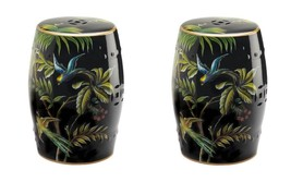 Set of 2 Tropical Birds & Palm Leaf Ceramic Stools, Side Tables, Plant S... - $172.61