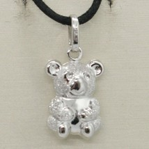 18K WHITE GOLD ROUNDED TEDDY BEAR PENDANT CHARM 22 MM SMOOTH & SATIN ITALY MADE image 2