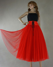 8-Layer Red Tulle Skirt Women High Waist Tulle Outfit Red Maxi Skirt Party Skirt image 2