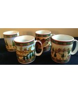 4 Block COUNTRY VILLAGE coffee mugs Green Yellow GEAR 1995 seasons - $21.77