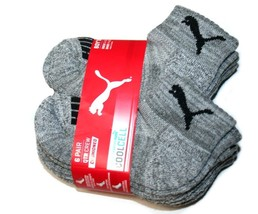 Puma CoolCell 6 Pair Quarter Crew Cushioned Boy's Socks, Gray (Sock: 5-6.5) - $15.99