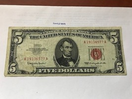 United States Lincoln $5 red circulated banknote 1963 #3 - $12.95