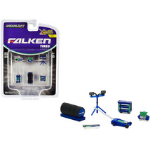 Falken Tires 6 piece Shop Tools Set Shop Tool Accessories Series 3 1/64 by Green - $5.11