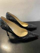 JIMMY CHOO Black Ruched Patent Leather Pointed Toe Pumps Sz 39 or US 9 - $163.92