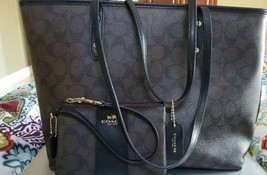 COACH F36876 Sig. Zip Top Saddle Leather Trimmed LG Tote Brown/Black WR... - $139.99