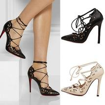Woman Stilettos Shoes Red Bottom High Heels Pumps Lace up High heels  B00C600142