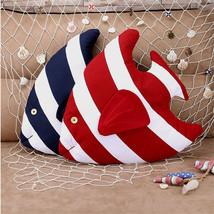 Striped Fish Throw Pillow Sofa Decor Cushion Cotton Linen Mediterranean ... - $21.32