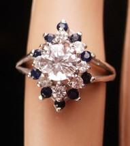 Vintage 14kt White gold Ring Sapphires Diamonique Size 5 1/4 Cocktail so... - $235.00