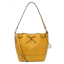 NWT Michael Kors Trista MD Bucket Drawstring Logo Charm Yellow Gold 35H8... - $138.60