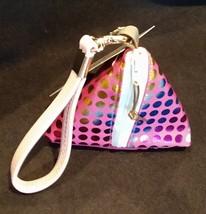 Pyramid Bag/Wristlet/Gift Bag - Fuschia Pink Hologram/Holographic polka dots
