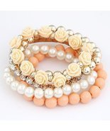Bohemian Fashion Candy Color Pearl Rose Flower Multilayer Beads Stretch ... - $22.00