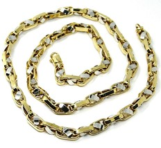 """18K YELLOW WHITE GOLD CHAIN, BIG OVAL CABLE SQUARED ALTERNATE LINK 7mm, 24"""" image 1"""
