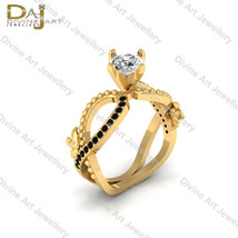 Nature Inspired Flower Wedding Ring Womens Yellow Gold Fn 925 Sterling S... - €103,41 EUR