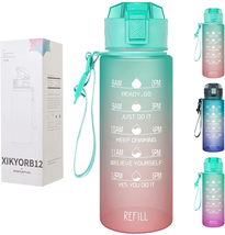 Motivational Sports Fitness Water Bottle with Time Marker, Straw BPA Free 32Oz - $21.78