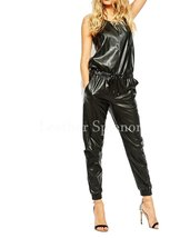 Sleeveless Women Drawstring Leather Jumpsuit