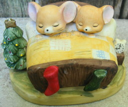 Mouse on Christmas Ornament Salt Shaker and 2 Mice in Bed Ceramic Figure - $20.00