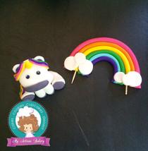 Rainbow Unicorn and rainbow fondant cake topper - $55.00