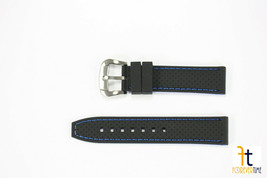 Citizen FITS 59-S52631 22m/23mm Black Silicone Watch Band w/Blue Stitching - $29.95