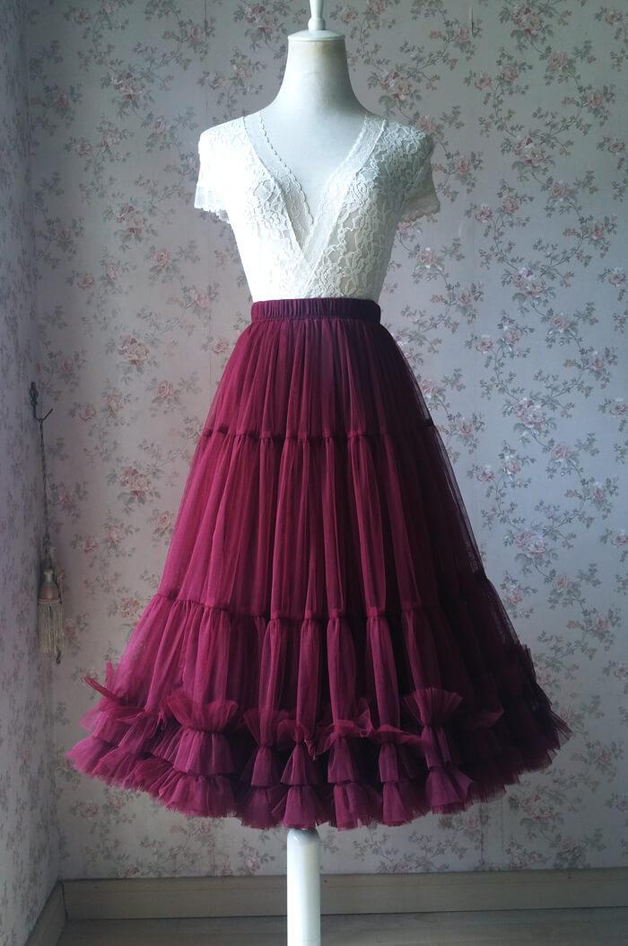 Midi ruffle tulle skirt burgundy 3