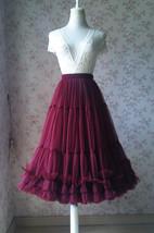 Burgundy Ballerina Tulle Skirt A-Line Layered Puffy Ballet Tulle Tutu Skirt image 1
