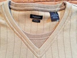 Van Heusen Studio Tan Retro collegiate Pullover Men's Sweater Size L New... - $11.77