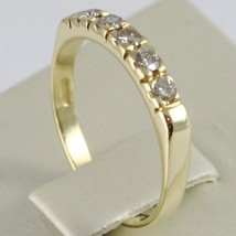 18K YELLOW GOLD BAND RING WITH 5 DIAMONDS, 0.25 CT ENGAGEMENT, MADE IN ITALY image 2