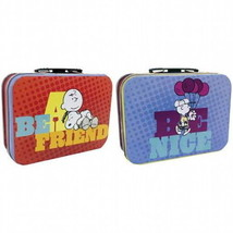 Peanuts Character Image Be a Friend, Be Nice Mini Tin Tote Lunchbox, NEW... - $8.79