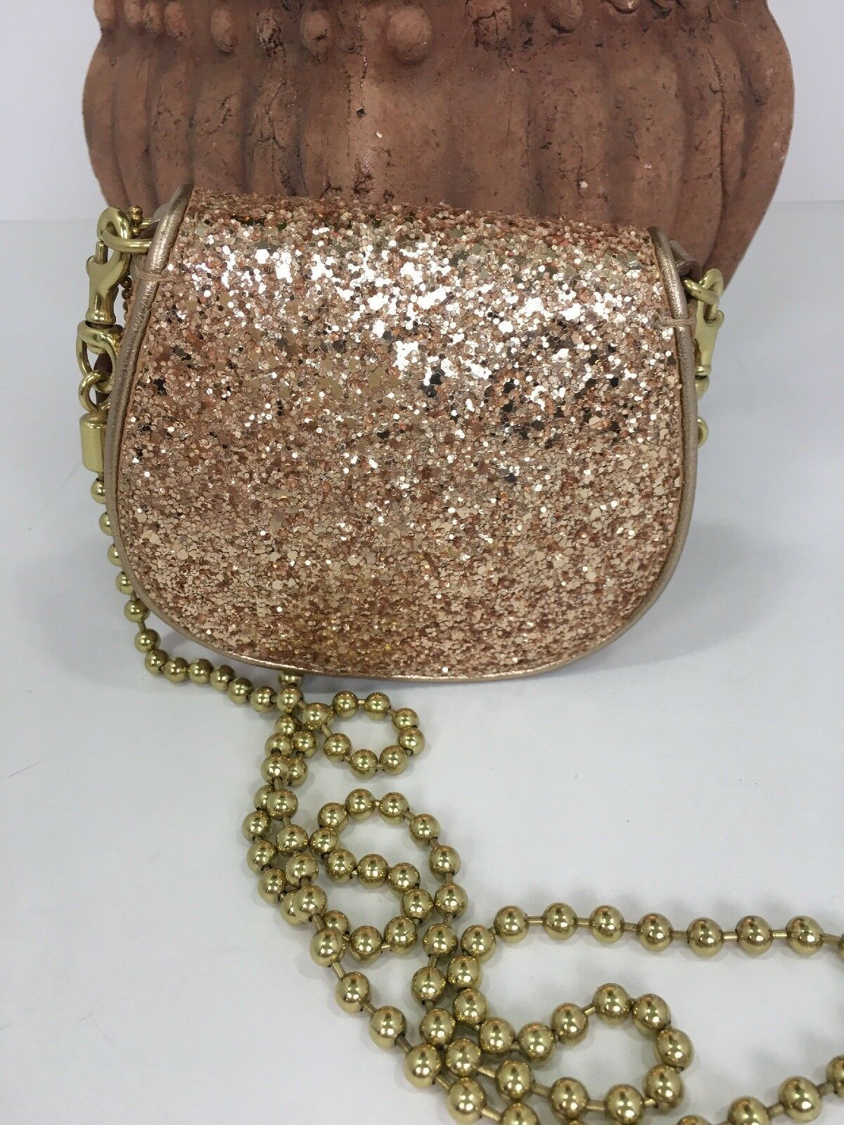 Coach Bag Evening Poppy Gold Sequin Crossbody Leather Chain 43292 Gold B2E image 3