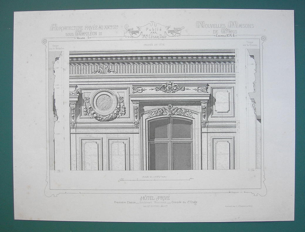 ARCHITECTURE PRINT : PARIS Mansion on Boulevard Monceaux Partial Facade