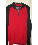 Mens Nautica Red blue 1/4 zip Sweater L Large 100% cotton cable knit  - $13.36