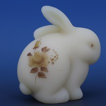 Fenton Art Glass Chocolate Rose on Cameo Satin c.1982 Bunny Rabbit image 2