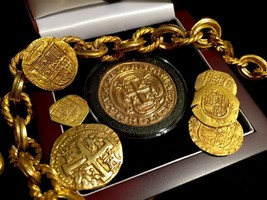 MEXICO TONED 1715 FLEET ROYAL 8 ESCUDOS GOLD PLT PENDANT DOUBLOON TREASU... - $395.00