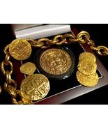 MEXICO TONED 1715 FLEET ROYAL 8 ESCUDOS GOLD PLT PENDANT DOUBLOON TREASU... - $395.00