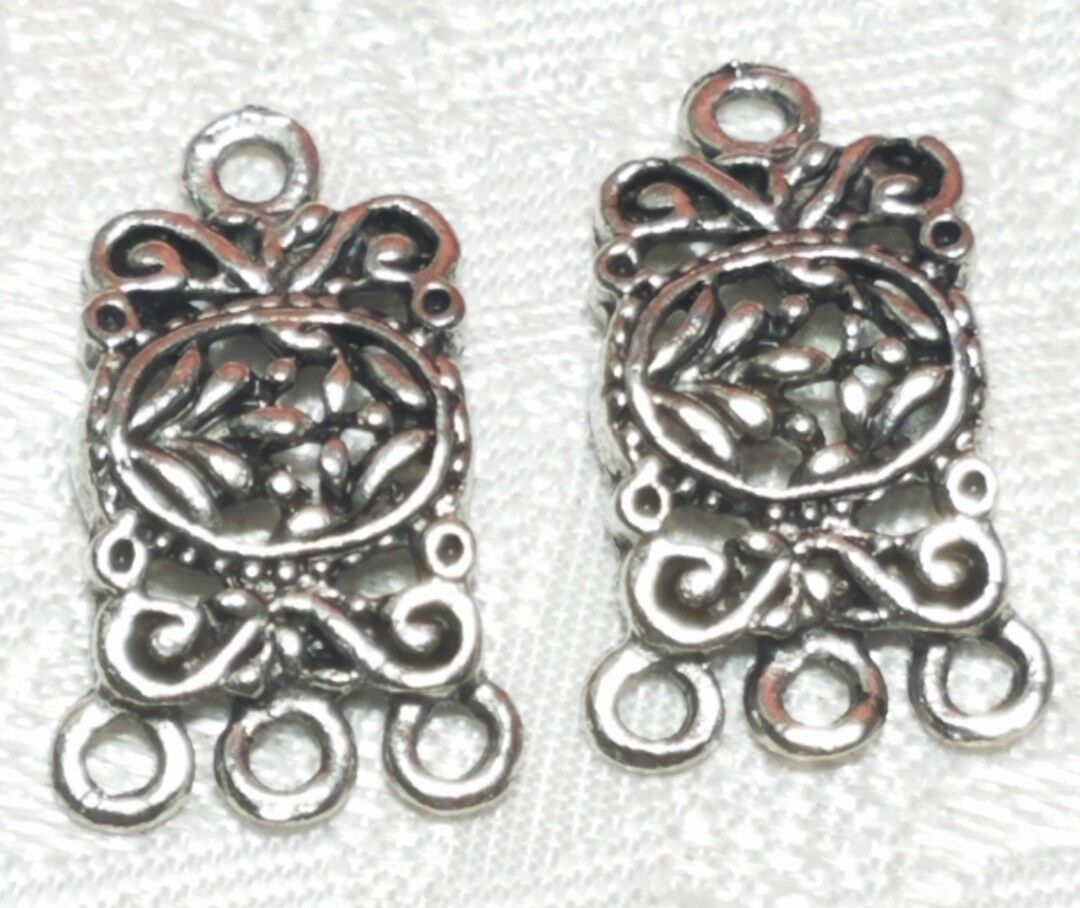 RECTANGULAR DROP FINE PEWTER PENDANT EARRING CONNECTOR 1 TO 3  12x20x2mm