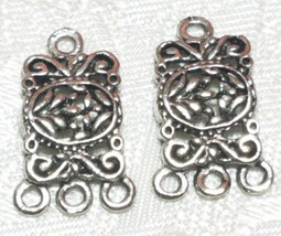 RECTANGULAR DROP FINE PEWTER PENDANT EARRING CONNECTOR 1 TO 3  12x20x2mm image 1