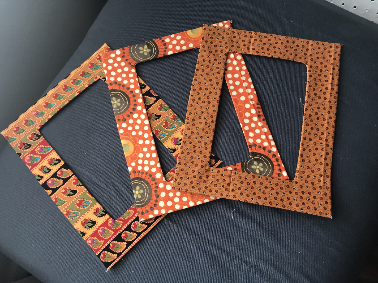 Magnetic Fabric Picture Frames, Orange & Yellow, holds 5x7 picture (min req 2)