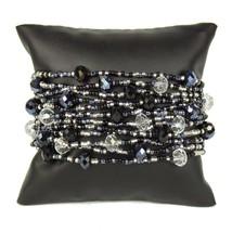 "#BR146 12 Strand Black Crystals Czech Glass Bracelet Magnetic Clasp 7.5"" Artisan - $14.80"