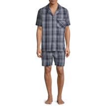 Stafford Men's Broadcloth Pajama Set SS Shirt & Shorts SMALL Navy Plaid NEW - $32.96