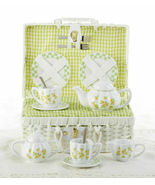 Delton Products Porcelain Yellow Sue Tea Set for Two, White Basket 8118-3 - €35,05 EUR