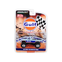 1974 Ford F-250 Monster Truck Gulf Blue with Orange Stripes Limited Edit... - $19.14