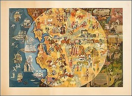 Northern California Pageant of History 1950 pictorial map POSTER 38168 - $15.84