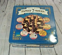 Family 7 + Mancala Game TIN; 8 Classic Board Games 2 Solid Wood Boards - $24.74