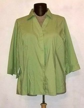 Lands End Women's Green Button Down 3/4 Sleeve Shirt Plus Size 22 - $16.99