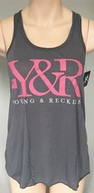Young & Reckless LA Womens Charcoal Gray Core Logo Racerback Tank Top Shirt NWT