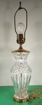 """Vintage Waterford Crystal Brass Electric Table Accent Lamp 26"""" - $227.65"""