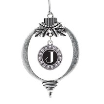 Inspired Silver My Vintage Initials - Letter J Circle Holiday Decoration Christm - $14.69