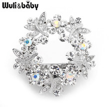 Wuli&baby Sparkling Crystal Dragonfly Flower Scarf Buckle Brooch Pins Fo... - $13.55